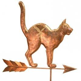 Флюгер Кошка с выгнутой спиной тип 1 в комплекте с розой ветров и медными шарами 100мм и 150мм