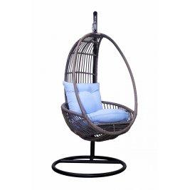Подвесное кресло с белой подушкой, вид сбоку