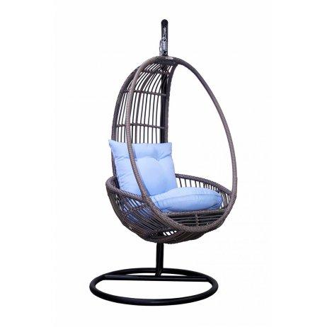 Подвесное кресло с голубой подушкой