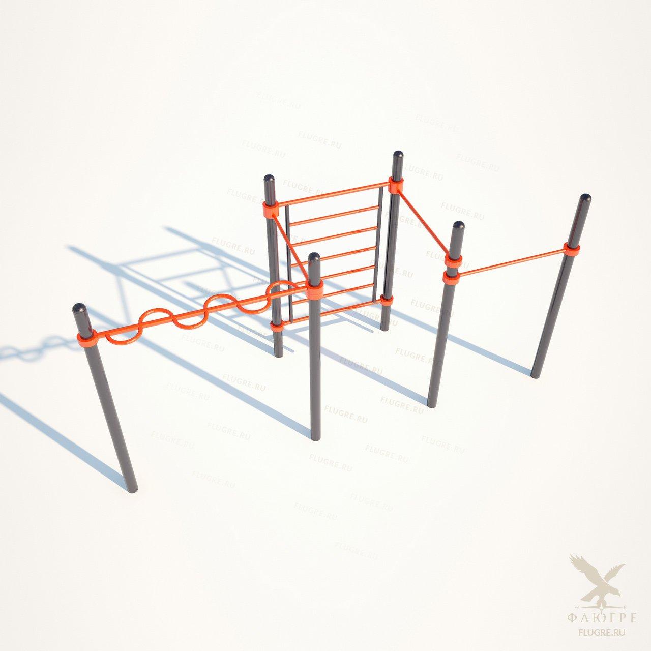 Секция из шведской лестницы,змейки и трех высоких перекладин Workoutcity W-023