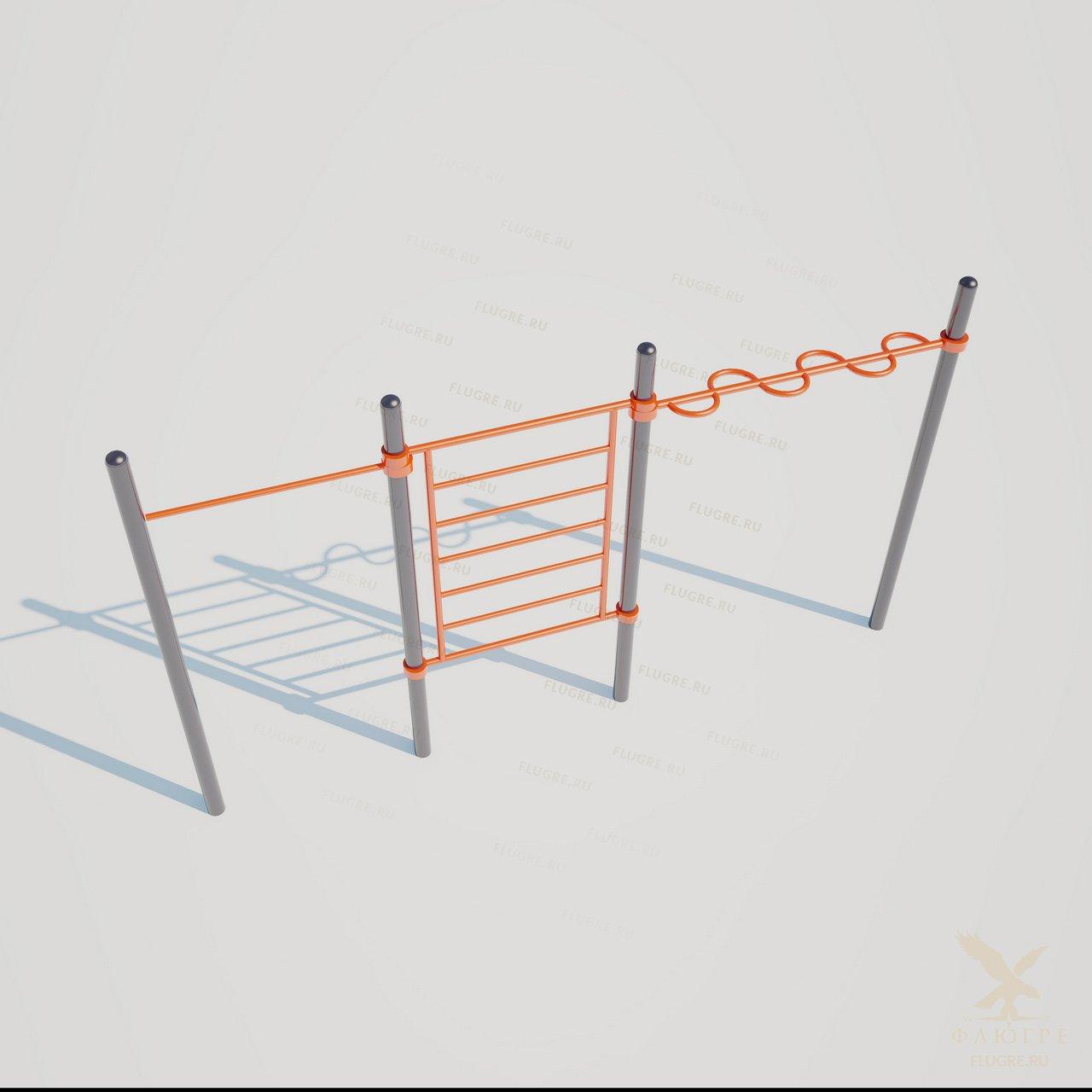 Секция из шведской лестницы, змейки и перекладины Workoutcity W-033