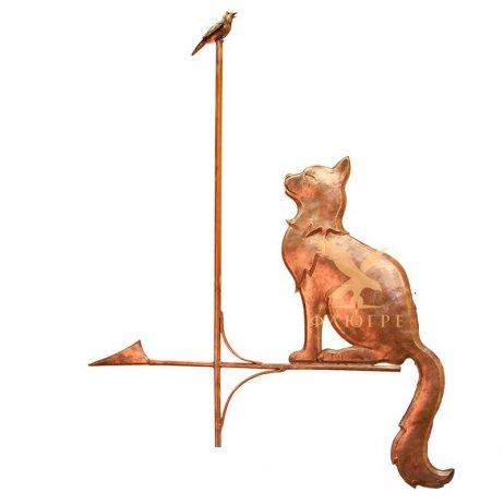 Флюгер Кошка с птичкой вертикальная