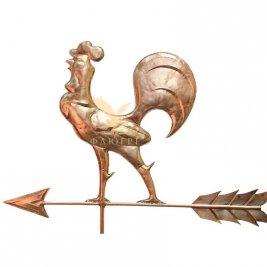 Флюгер Петух сказочный в комплекте с розой ветров и медными шарами 100мм и 150мм